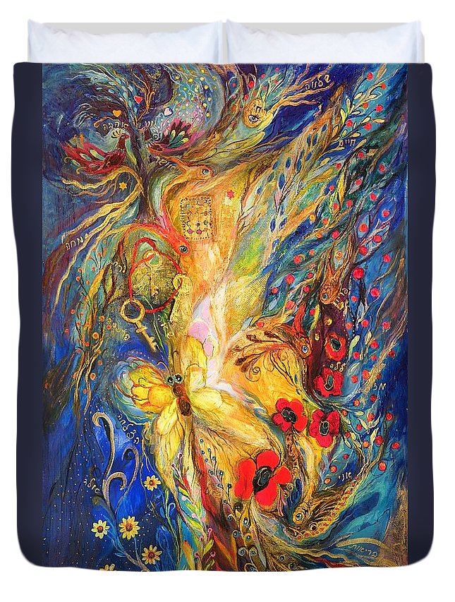 Original Duvet Cover featuring the painting The Three Keys by Elena Kotliarker