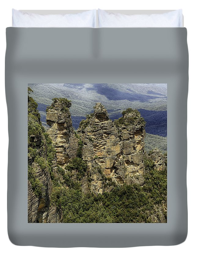 Sydney Duvet Cover featuring the photograph The Three Sisters by Chris Cousins