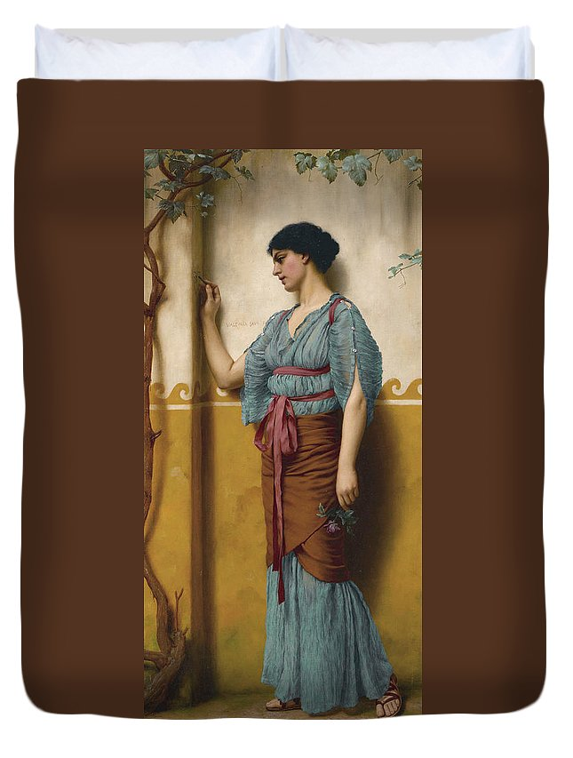 19th Century Art Duvet Cover featuring the painting The Trysting Place by John William Godward