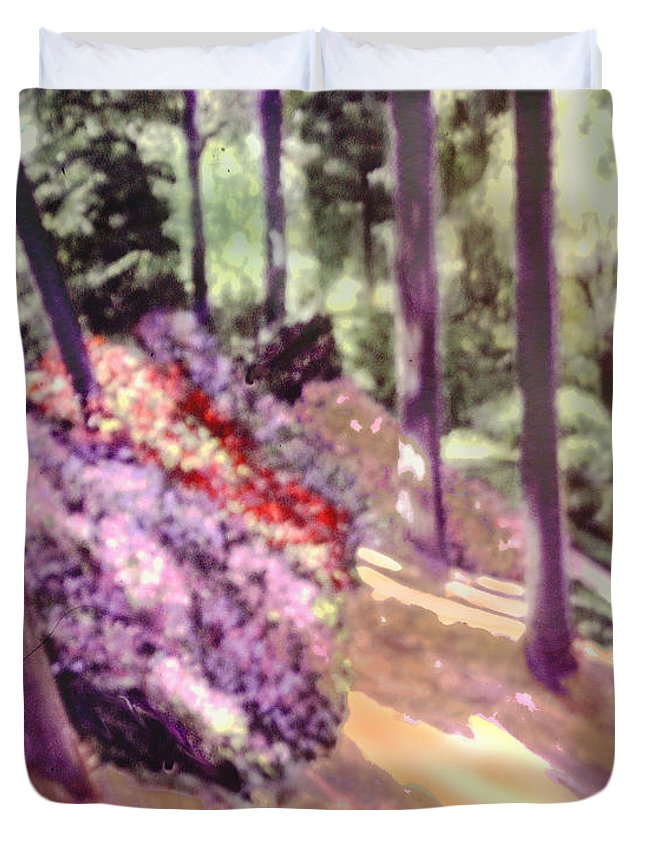 Sunlit Azaleas On A Hillside Painted Impressionistically Duvet Cover featuring the painting The Upper Pond by David Zimmerman