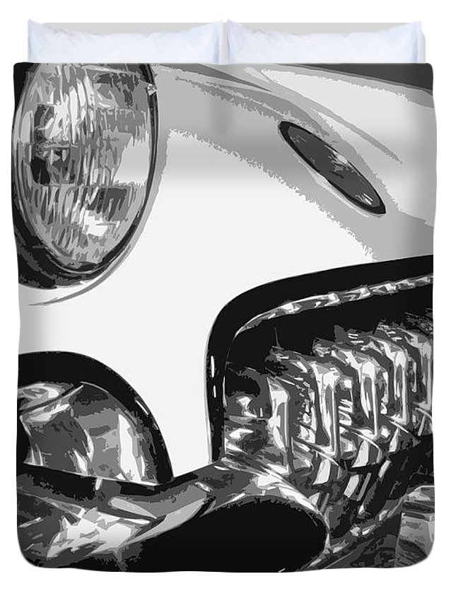 Corvette Duvet Cover featuring the photograph The Vette That Growled by Dick Goodman