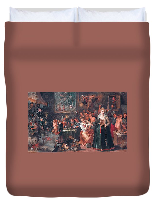 17th Century Art Duvet Cover featuring the painting The Witches' Sabbath by Frans Francken the Younger