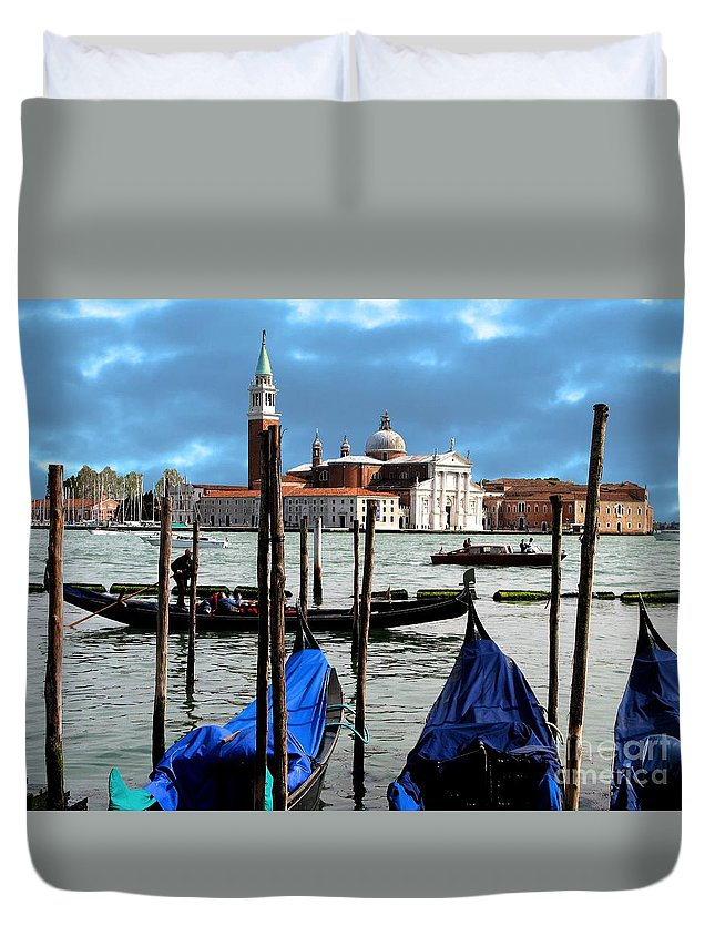 Venice Duvet Cover featuring the photograph Three Boats by Don Kenworthy