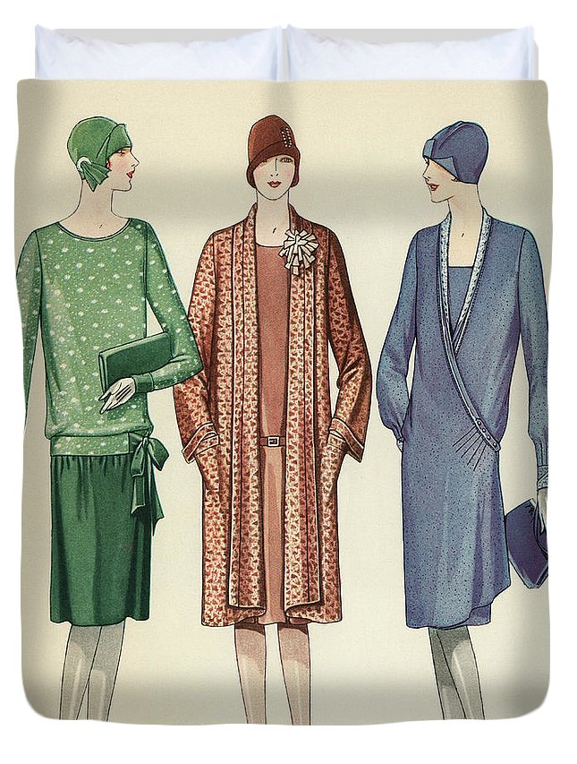 Flapper Duvet Cover featuring the painting Three Flappers Modelling French Designer Outfits, 1928 by American School