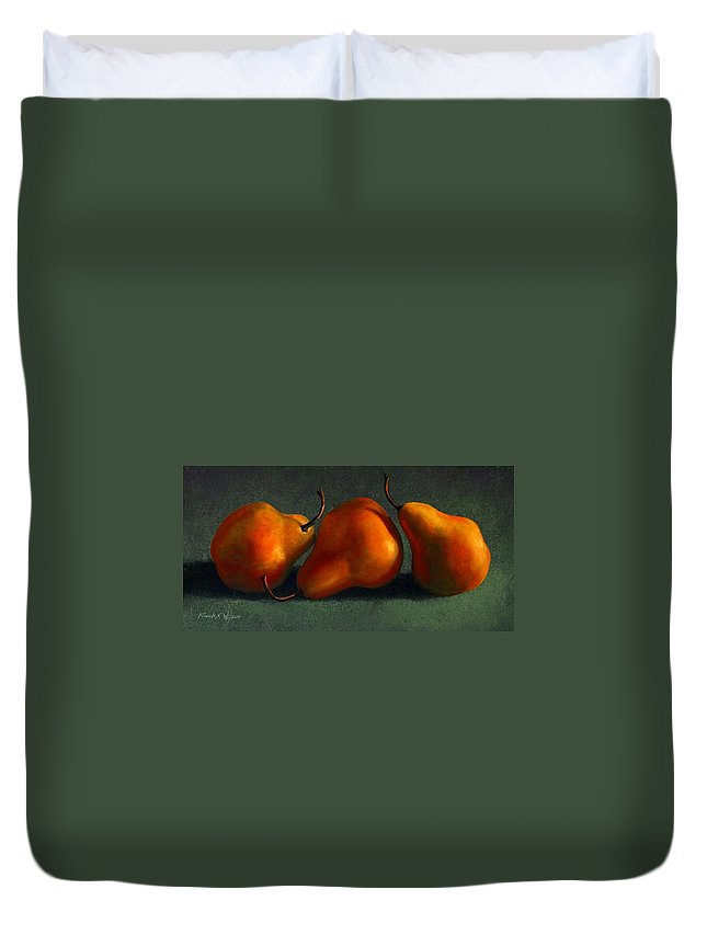 Still Life Duvet Cover featuring the painting Three Golden Pears by Frank Wilson