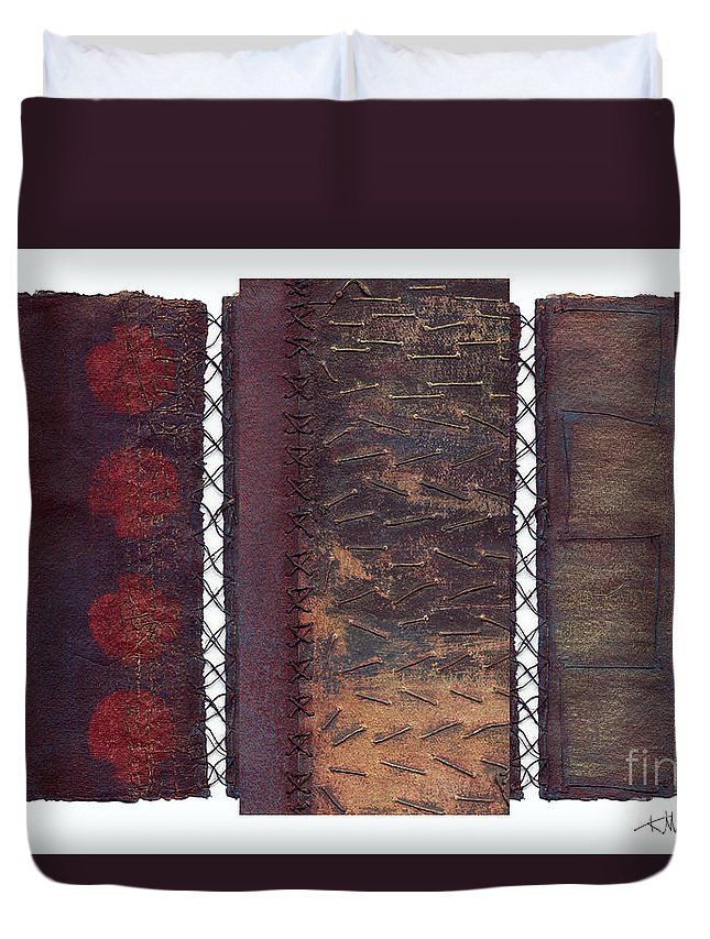 3panel Duvet Cover featuring the painting Three Panel Transitional Page Format by Kerryn Madsen- Pietsch