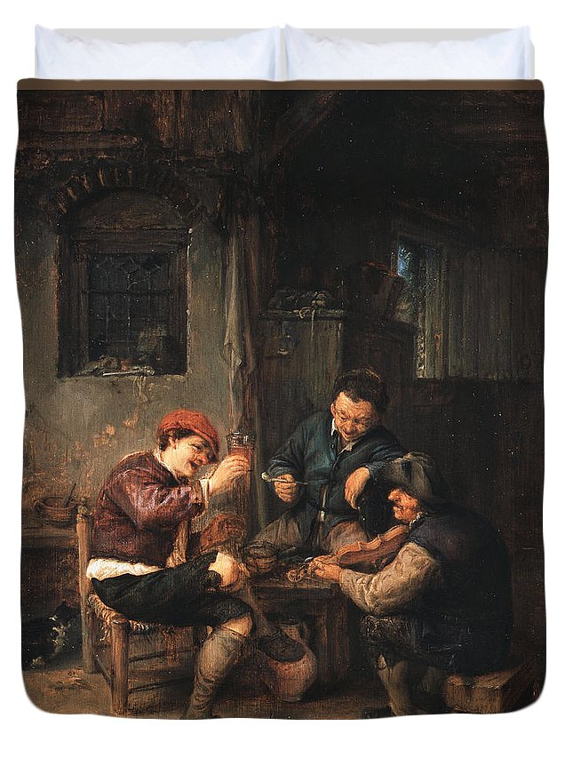 Adriaen Jansz Hendricx Duvet Cover featuring the painting Three Peasants At An Inn by Adriaen van Ostade
