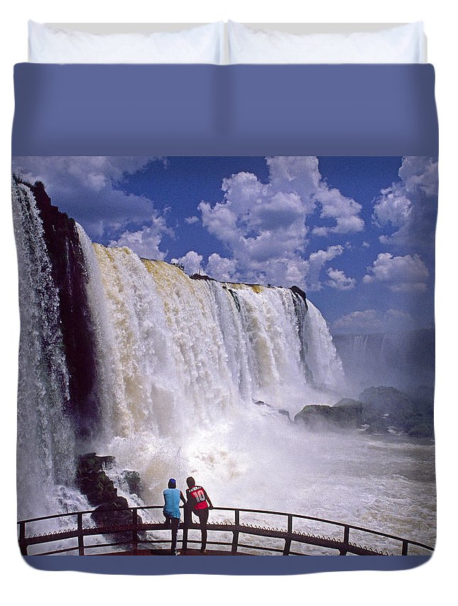 South America Duvet Cover featuring the photograph Thundering Water by Michele Burgess