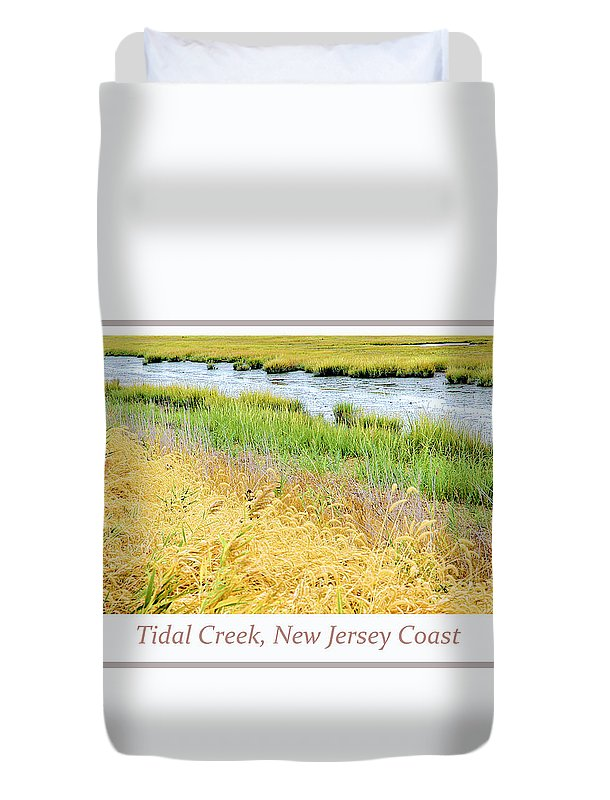 Tidal Creek Duvet Cover featuring the digital art Tidal Creek Mud Flat At Low Tide by A Gurmankin