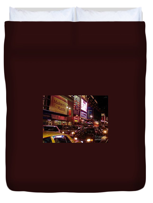 New York Duvet Cover featuring the photograph Times Square Night by Debbi Granruth