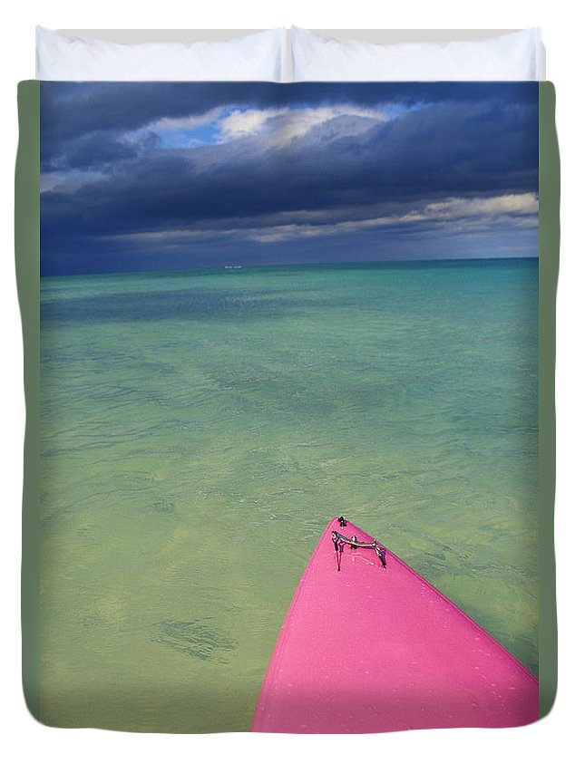 Adventure Duvet Cover featuring the photograph Tip Of Pink Kayak by David Cornwell/First Light Pictures, Inc - Printscapes