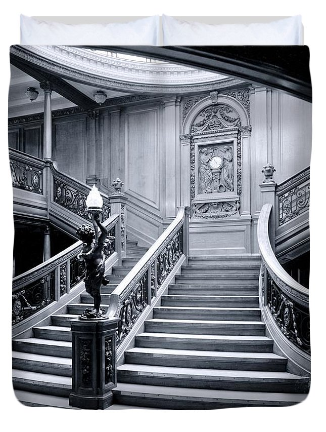 Titanic Duvet Cover featuring the photograph Titanic's Grand Staircase by The Titanic Project
