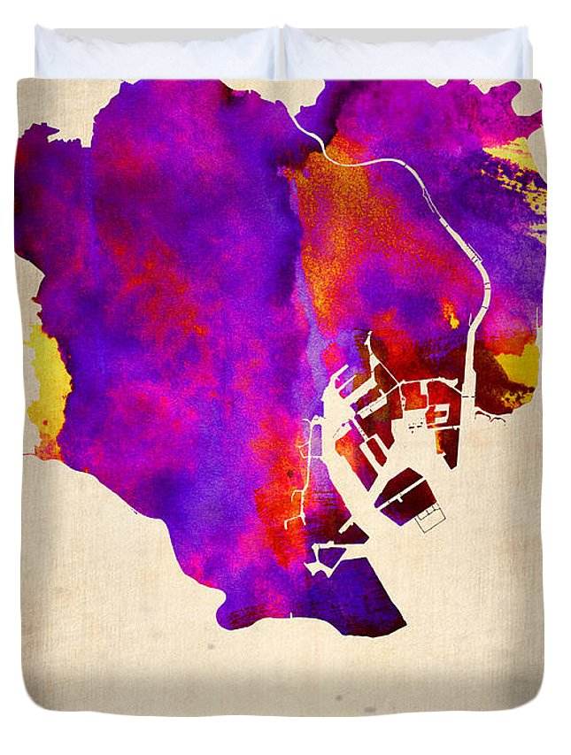 Tokyo Duvet Cover featuring the painting Tokyo Watercolor Map 2 by Naxart Studio