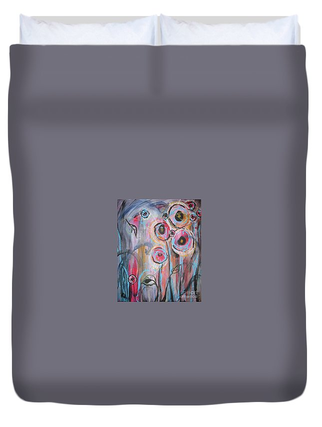 Aabstract Paintings Duvet Cover featuring the painting Too Many Temptations by Seon-Jeong Kim