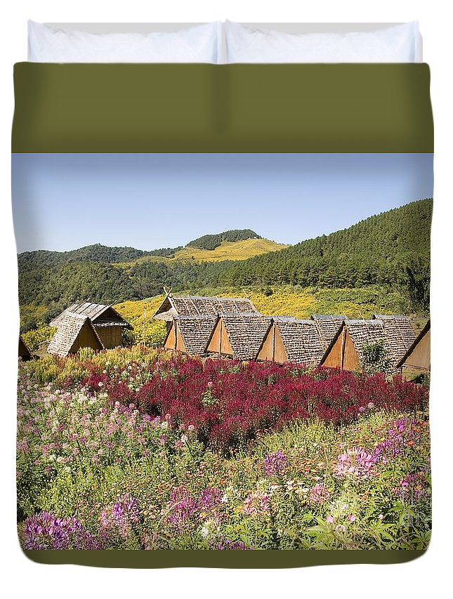 Beautiful Duvet Cover featuring the photograph Toong Bua Tong Forest Park by Bill Brennan - Printscapes