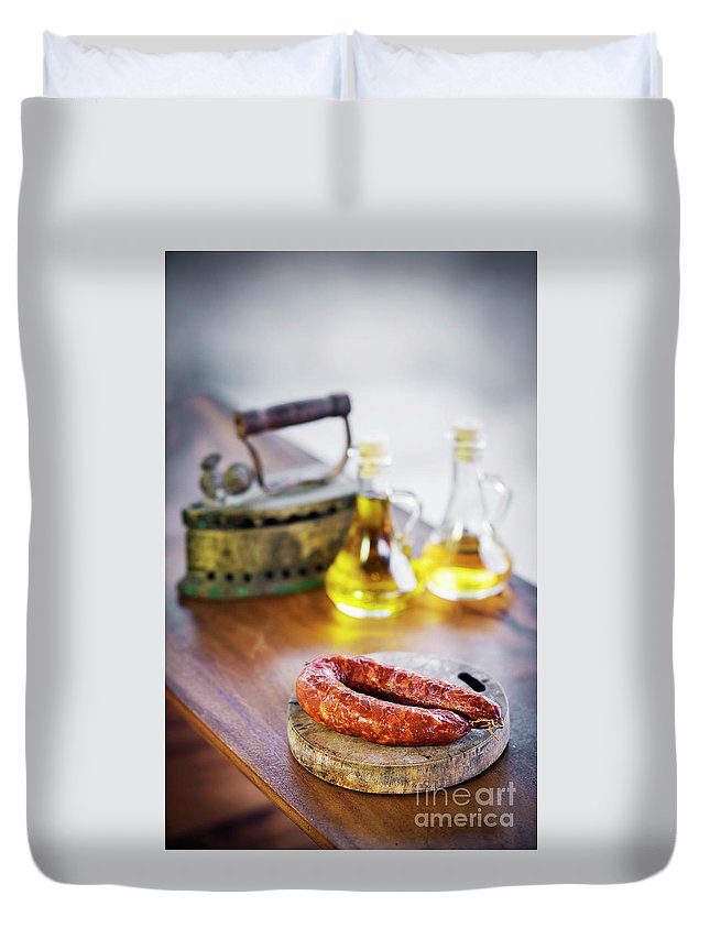 Basic Duvet Cover featuring the photograph Traditional Spanish Portuguese Smoked Pork Chorizo Courico Rusti by Jacek Malipan