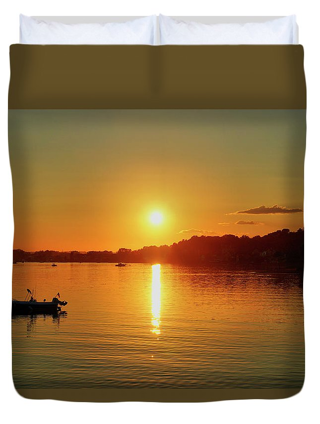 Sunset Duvet Cover featuring the digital art Tranquil Sunset by Lilia D