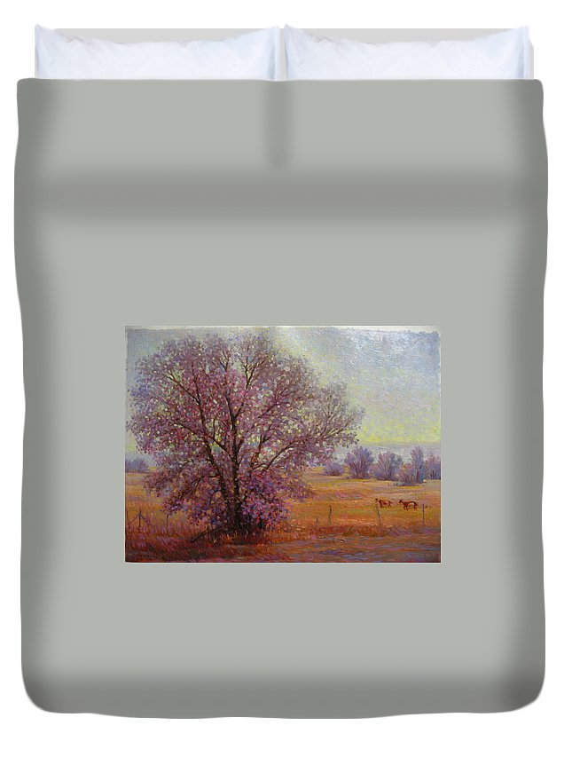 Duvet Cover featuring the painting Tree by Deliang Ma
