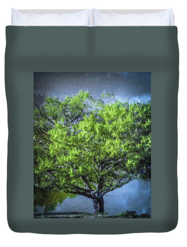 Duvet Cover featuring the photograph Tree On The Bank by Devinely Unique Photography
