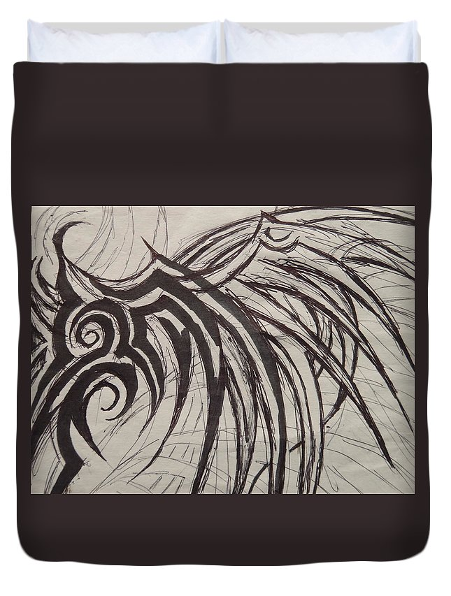 Wing Duvet Cover featuring the drawing Tribal Wing Sketch by Jaime Paberzis