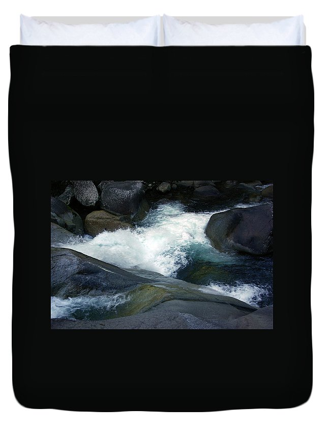 Fineart Duvet Cover featuring the photograph Tropical Flowing Waters Josephine Falls by Kerryn Madsen- Pietsch