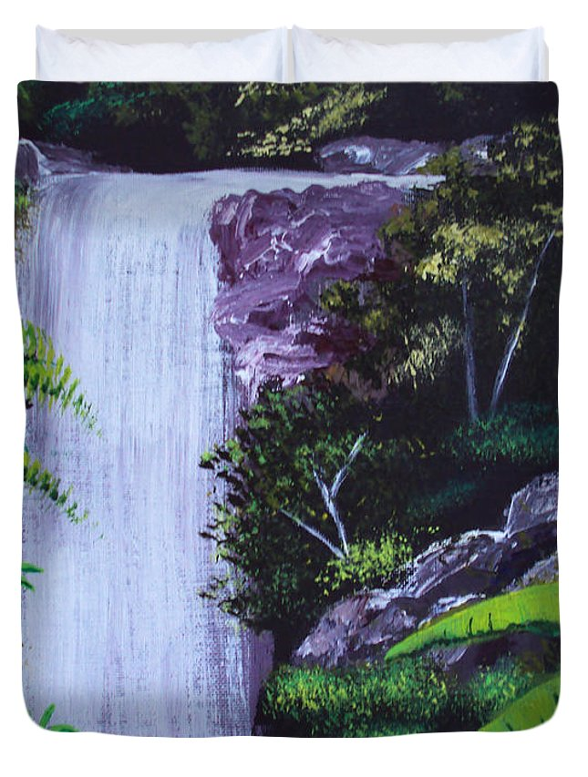 Tropical Duvet Cover featuring the painting Tropical Waterfall by Luis F Rodriguez