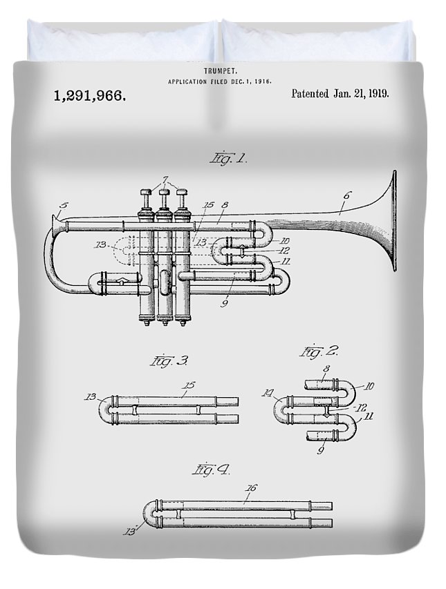 Trumpet Duvet Cover featuring the photograph Trumpet Patent From 1919 by Chris Smith