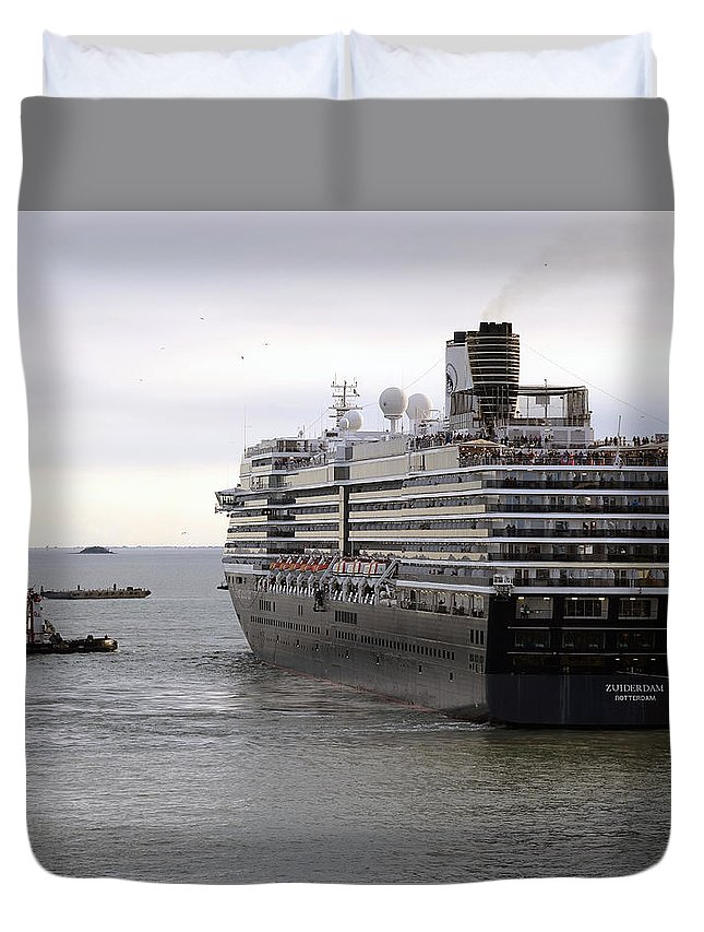 Tugboat Duvet Cover featuring the photograph Tugboat Assisting Big Cruise Liner In Venice Italy by Richard Rosenshein