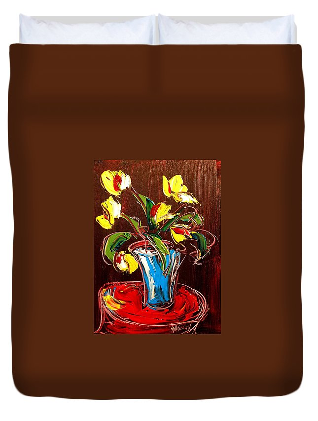Red Poppies Duvet Cover featuring the painting Tulips by Mark Kazav