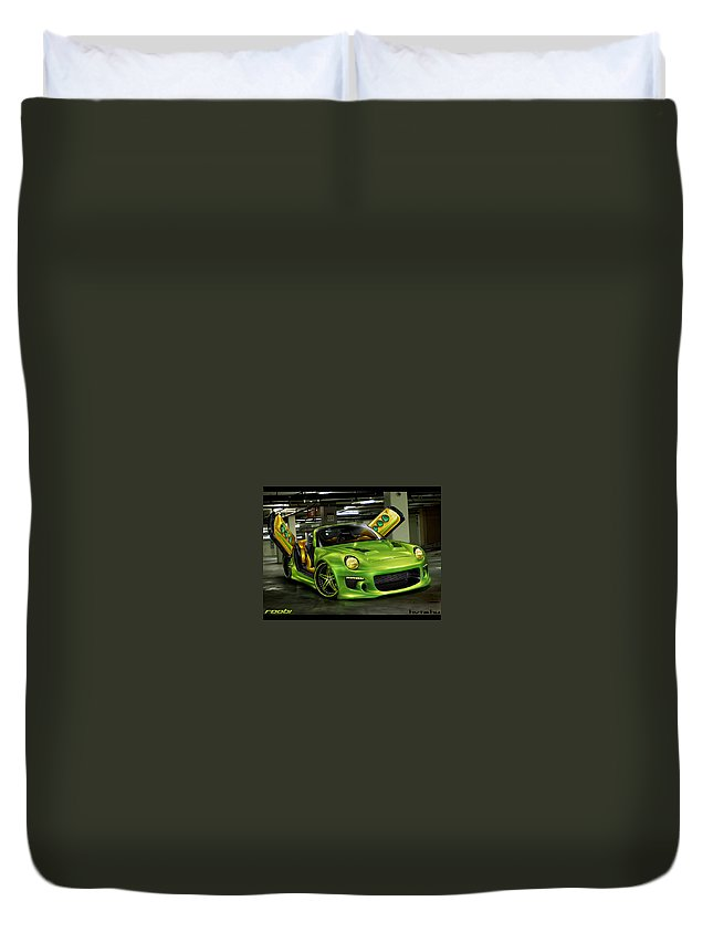 Tuned Duvet Cover featuring the digital art Tuned by Dorothy Binder