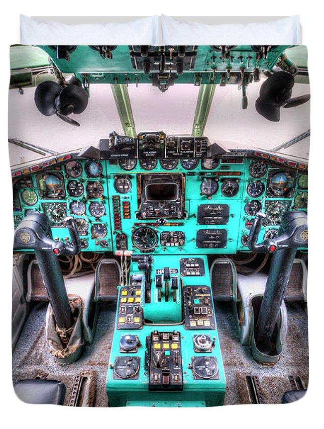 ce9707638 Cockpit Duvet Cover featuring the photograph Tupolev Tu-154 Cockpit by David  Pyatt