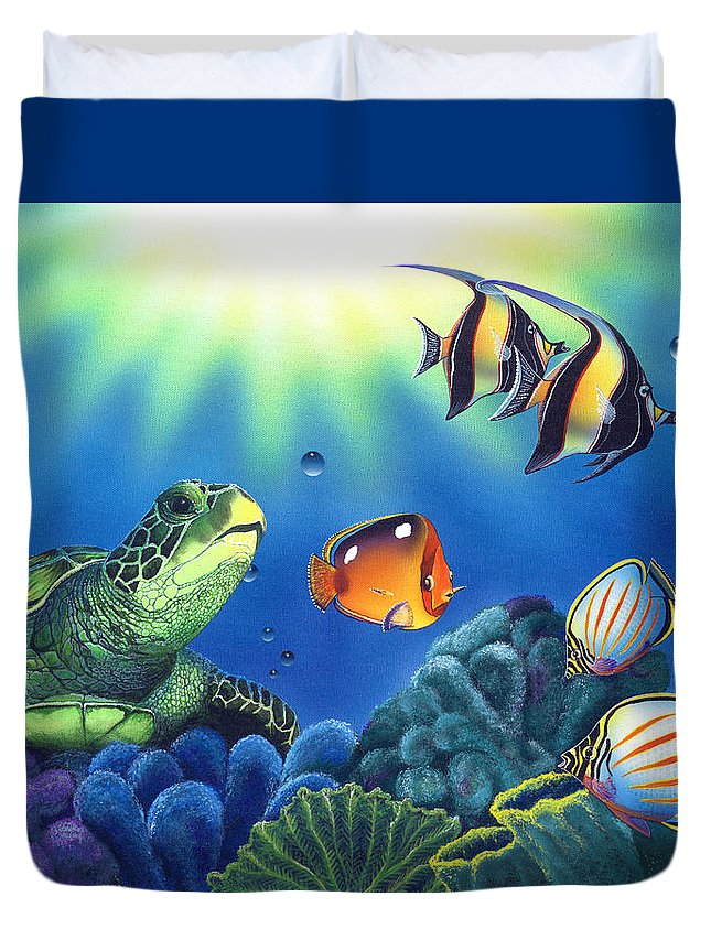 Turtle Duvet Cover featuring the painting Turtle Dreams by Angie Hamlin