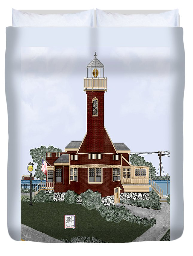 Lighthouse Duvet Cover featuring the painting Turtle Rock Lighthouse by Anne Norskog