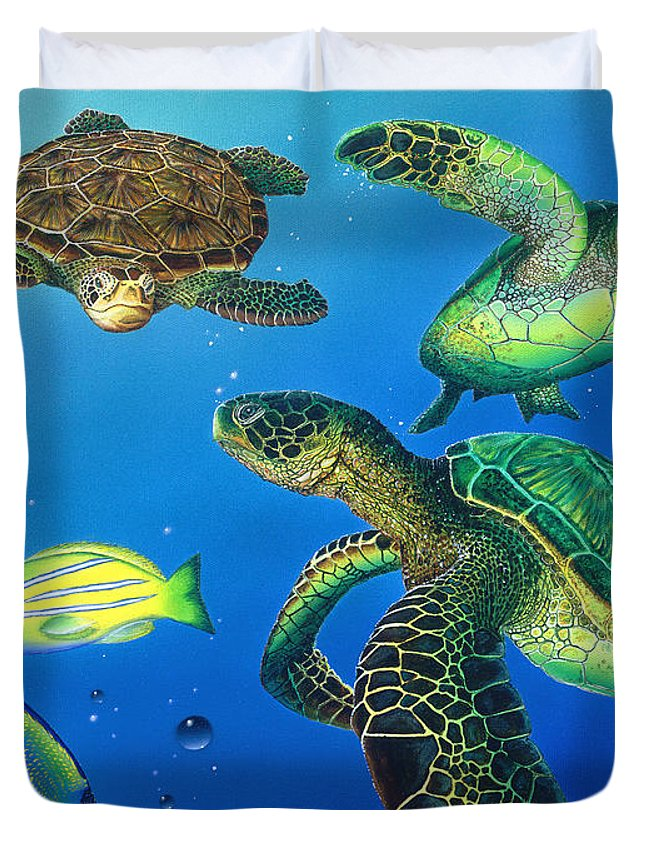 Turtle Duvet Cover featuring the painting Turtle Towne by Angie Hamlin