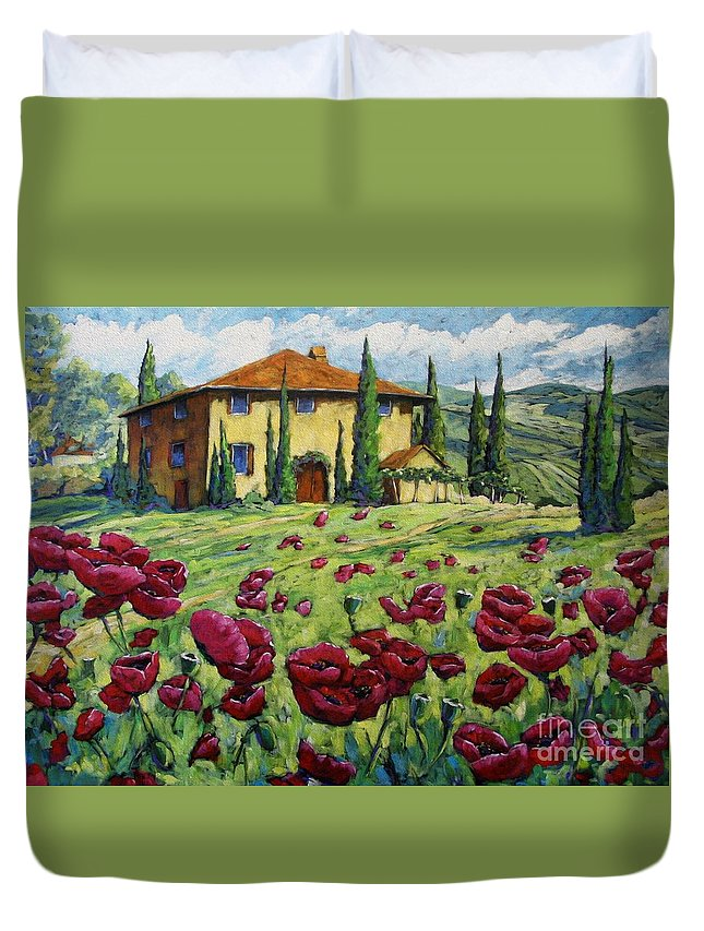 Art Duvet Cover featuring the painting Tuscan Poppies by Richard T Pranke