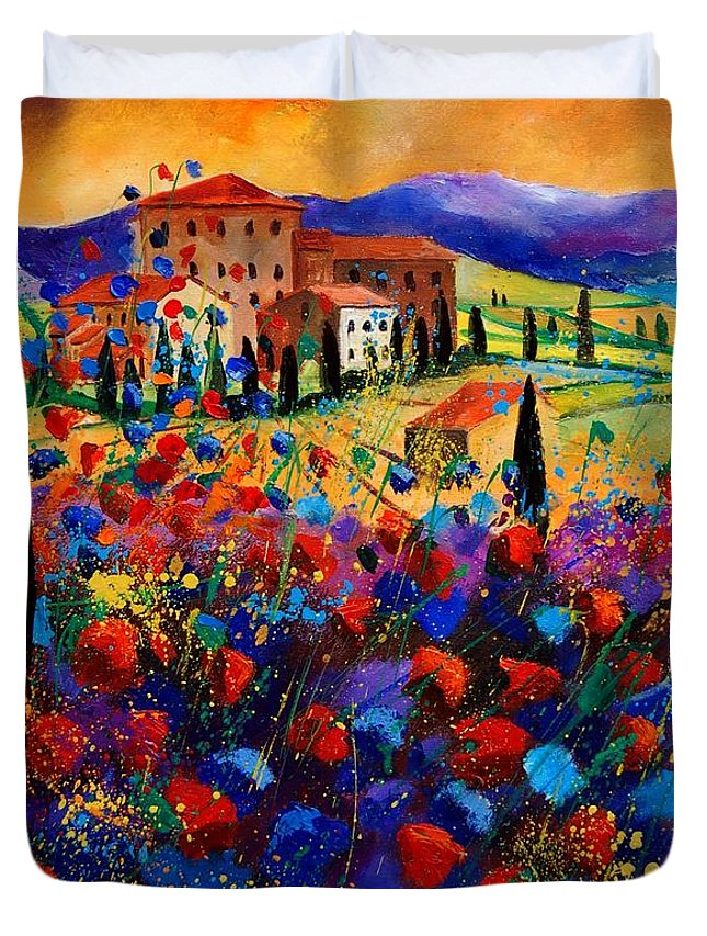 Flowers Duvet Cover featuring the painting Tuscany Poppies by Pol Ledent