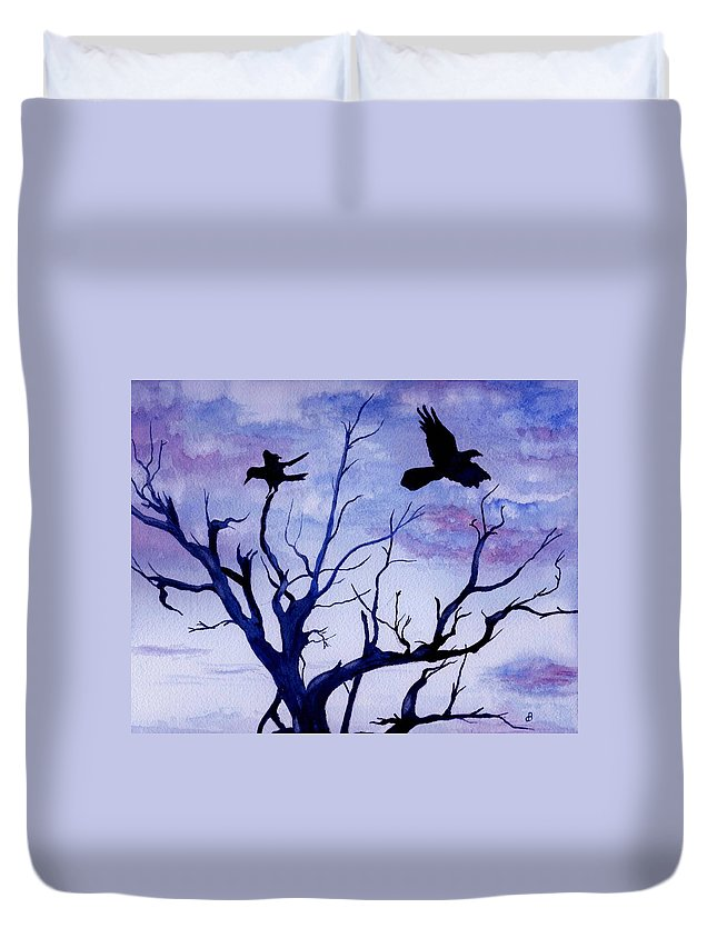 Watercolor Landscape Birds Raven Crow Flight Tree Sunset Sky Blue Clouds Scenic Duvet Cover featuring the painting Twilight Flight by Brenda Owen