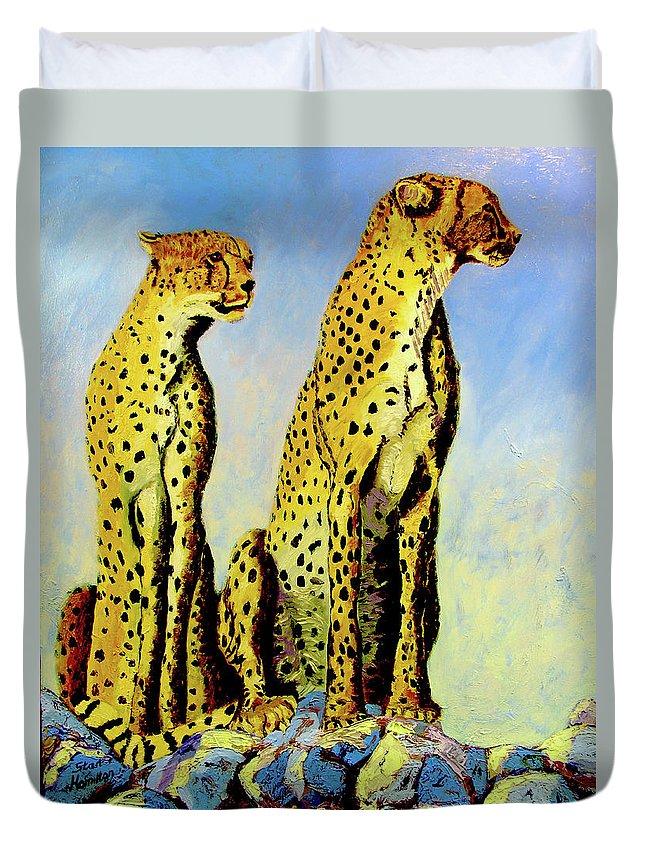 Cheetahs Duvet Cover featuring the painting Two Cheetahs by Stan Hamilton