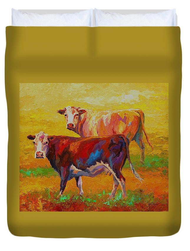 Cows Duvet Cover featuring the painting Two Cows by Marion Rose