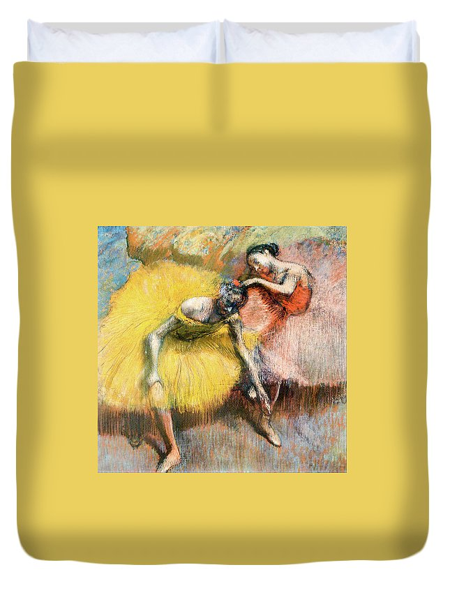 Dancers Duvet Cover featuring the painting Two Dancers In Yellow And Pink by Edgar Degas
