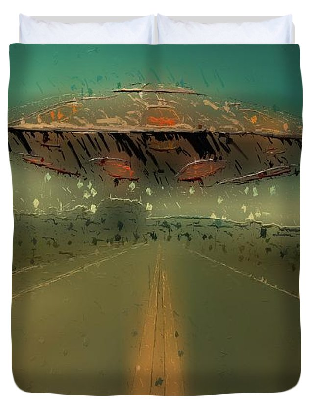 Ufo Duvet Cover featuring the digital art Ufo Road by Esoterica Art Agency
