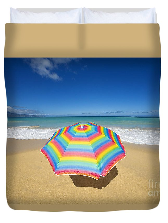 Afternoon Duvet Cover featuring the photograph Umbrella On Beach by Ron Dahlquist - Printscapes