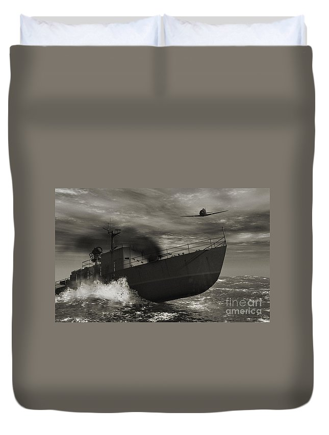 War Duvet Cover featuring the digital art Under Attack by Richard Rizzo