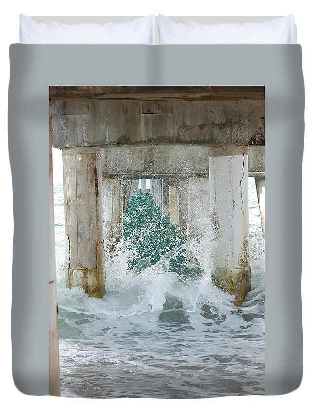 Ocean Duvet Cover featuring the photograph Under The Boardwalk by Rob Hans