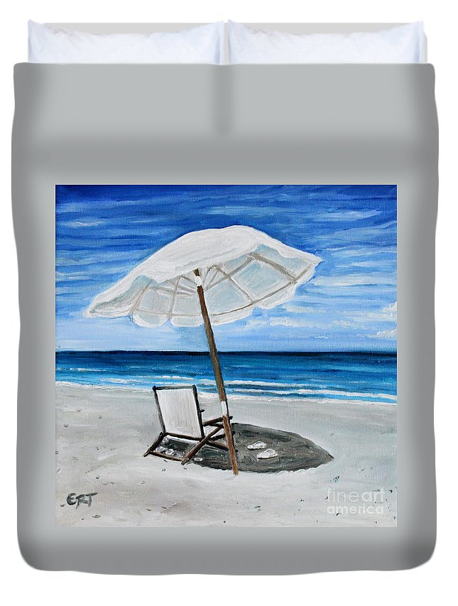 Umbrella Duvet Cover featuring the painting Under The Umbrella by Elizabeth Robinette Tyndall