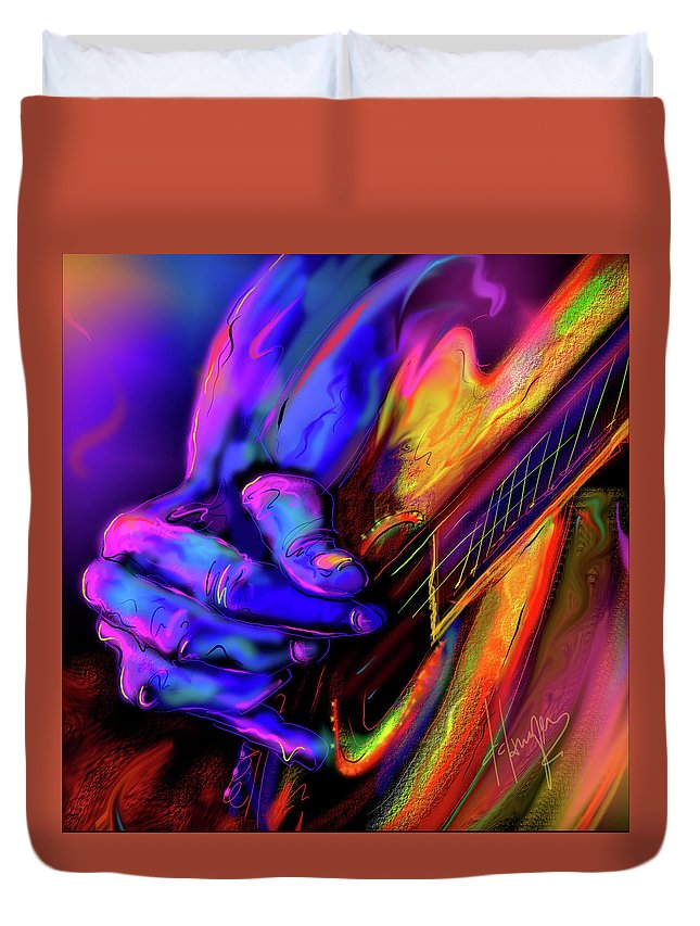 Guitar Duvet Cover featuring the painting Unplugged by DC Langer