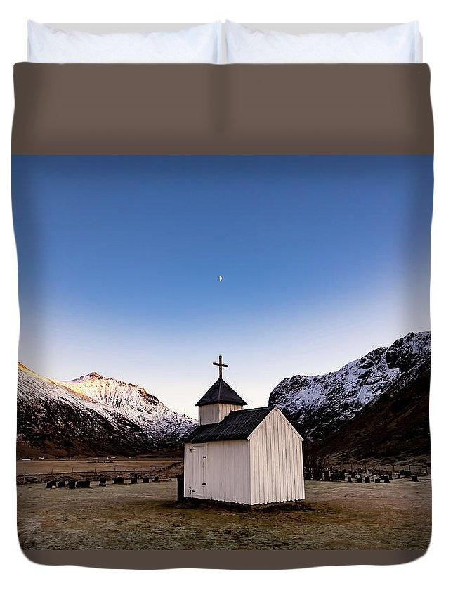 Lofoten Duvet Cover featuring the photograph Unstad Chapel by Brad Rempel
