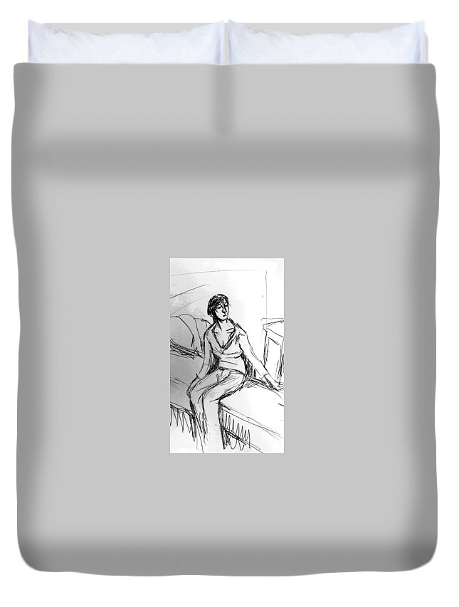 Girl Duvet Cover featuring the drawing Untitled 112215 by Hae Kim