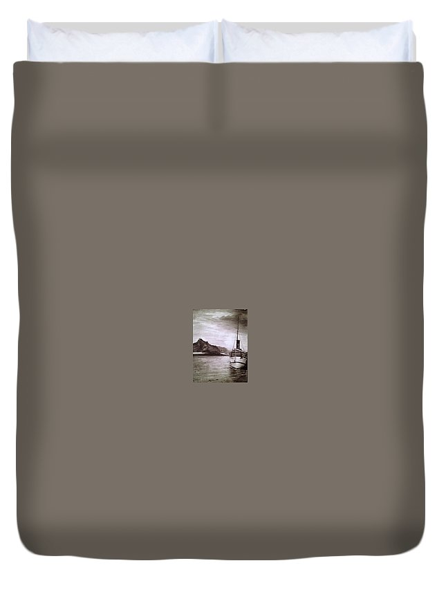 Boat Duvet Cover featuring the drawing Untitled by Brooke Braden
