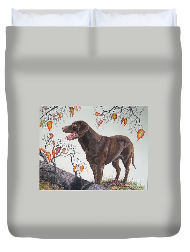 Chocolate Lab Duvet Cover featuring the pastel Untitled by John Huntsman